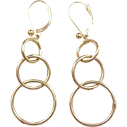 Vintage 14k Gold Long Circle Earrings
