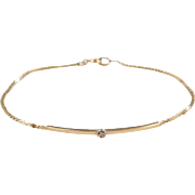 Vintage 14k Gold Diamond Bracelet ~ 7""