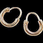 Vintage 14k Gold Tiny Hoop Earrings