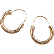 Vintage 14k Gold Tiny Hoop Earrings
