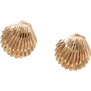 Vintage 14k Gold Nautical Shell Stud Earrings