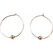 Vintage 14k Gold Thin Hoop Earrings with Bead