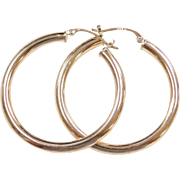 Vintage 14k Gold Big Hoop Earrings