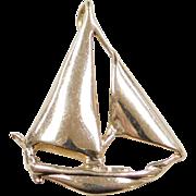 Vintage 14k Gold Sailboat Pendant
