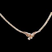 """Vintage 14k Gold Diamond Necklace ~ 15 1/4"""""""