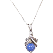 """Vintage 14k White Gold Star Sapphire and Diamond Necklace ~ 17"""""""