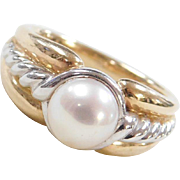 Vintage 14k Gold Two-Tone Cultured Pearl Ring