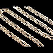"Vintage 10k Gold Men's Figaro Link Chain ~20"" ~ 14.0 Grams"