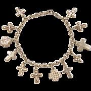 "Vintage 14k Gold Puff Cross Charm Bracelet ~ 7 3/8"""