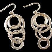 Vintage 14k Gold Long Circle Dangle Earrings