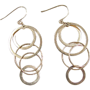 Vintage 14k Gold Long Circle Dangle Earrings
