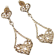 Vintage 14k Gold Filigree Heart Earrings