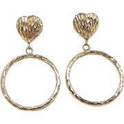 Vintage 14k Gold Heart Circle Earrings