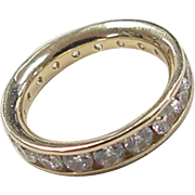 Vintage 14k Gold Faux Diamond Eternity Band Ring