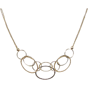 "Vintage 14k Gold Fun Oval Necklace ~ 17 3/4"""