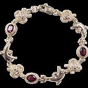 """Vintage 14k Gold Garnet Dolphin and Sea Turtle Bracelet ~ 7 3/8"""""""