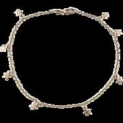 """Vintage 10k Gold Star Charm Anklet ~ 11"""""""