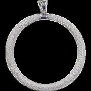 Vintage 14k White Gold Big Circle Pendant