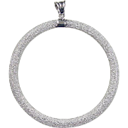 Vintage 14k White Gold Big Circle Pendant