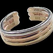 Vintage 14k Gold Tri-Color Toe Ring