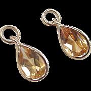 Vintage 14k Gold 1.30 ctw Citrine Earring Jackets