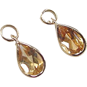 Vintage 14k Gold 1.30 ctw Citrine Earring Jackets