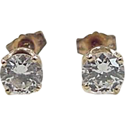 Vintage 14k Gold .94 ctw Faux Diamond Stud Earrings
