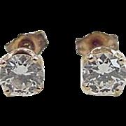 Vintage 14k Gold .94 ctw Faux Diamond Stud Earrings