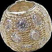 Vintage 14k Gold Faux Diamond Bead Pendant