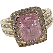 Vintage 14k Gold Pink Ice and Faux Diamond Ring