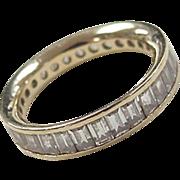 Vintage 14k Gold Faux Diamond Baguette Eternity Band Ring