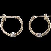 Vintage 10k Gold Faux Diamond Hoop Earrings