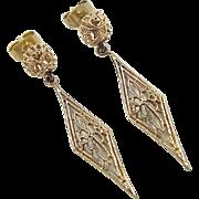 Vintage 10k Gold Filigree Earrings