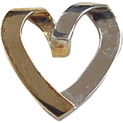 Vintage 10k Gold Two-Tone Heart Pendant