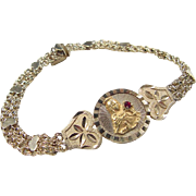 Vintage 14k Gold Religious Bracelet with Hearts and Faux Ruby ~ 7""