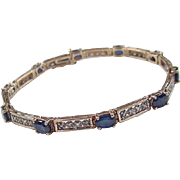 Vintage 10k Gold Two-Tone Diamond and Sapphire Bracelet ~ 7""