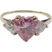 Vintage 10k Gold Pink Ice Heart and Faux Diamond Ring