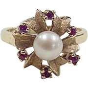 Vintage 14k Gold Cultured Pearl and Ruby Ring
