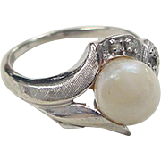 Vintage 10k White Gold Cultured Pearl and Diamond Ring