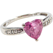 Vintage 10k White Gold Pink Sapphire and Diamond Heart Ring