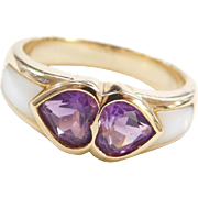 Vintage 14k Gold Amethyst and Mother of Pearl Heart Ring
