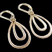 Vintage 14k Gold Teardrop Earrings ~ Lever Backs
