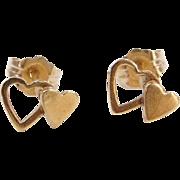 Vintage 14k Gold Double Heart Stud Earrings