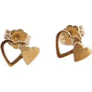 Vintage 14k Gold Double Heart Stud Earrings