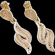 Vintage 14k Gold Filigree Dangle Earrings