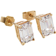 Vintage 14k Gold 2.00 ctw Faux Diamond Stud Earrings