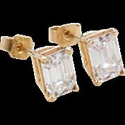Vintage 14k Gold 2.00 ctw Faux Diamond Stud Earrings