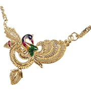 Vintage 22k Gold Colorful Enamel Peacock Necklace ~ 25""