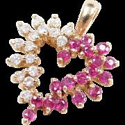 Vintage 14k Gold Ruby and Diamond Heart Pendant