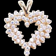 Vintage 14k Gold Faux Diamond Heart Pendant